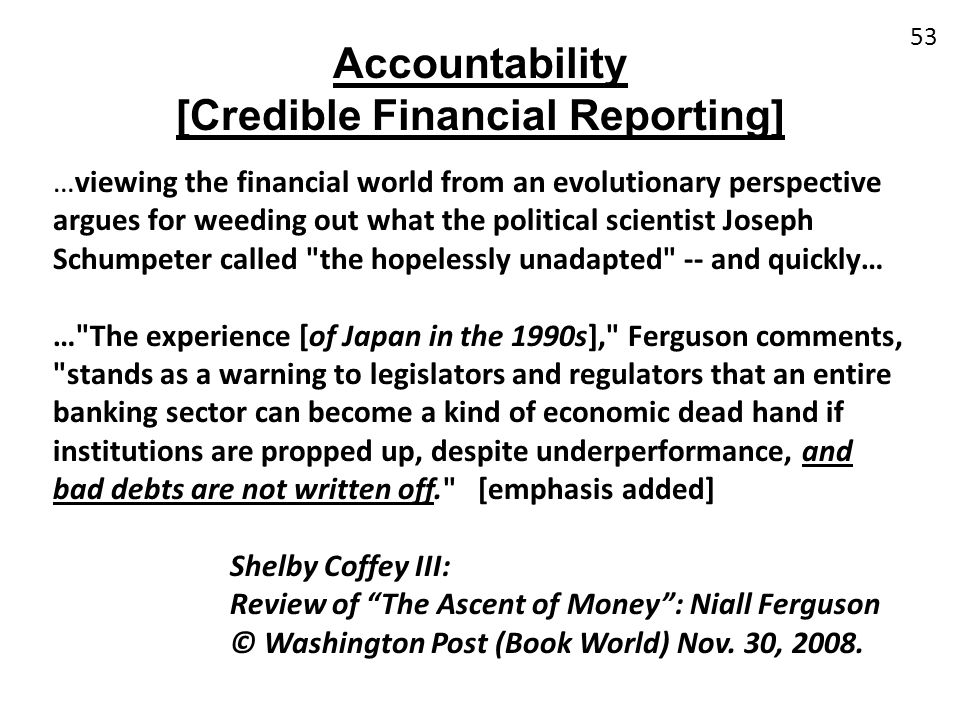 [Credible Financial Reporting]